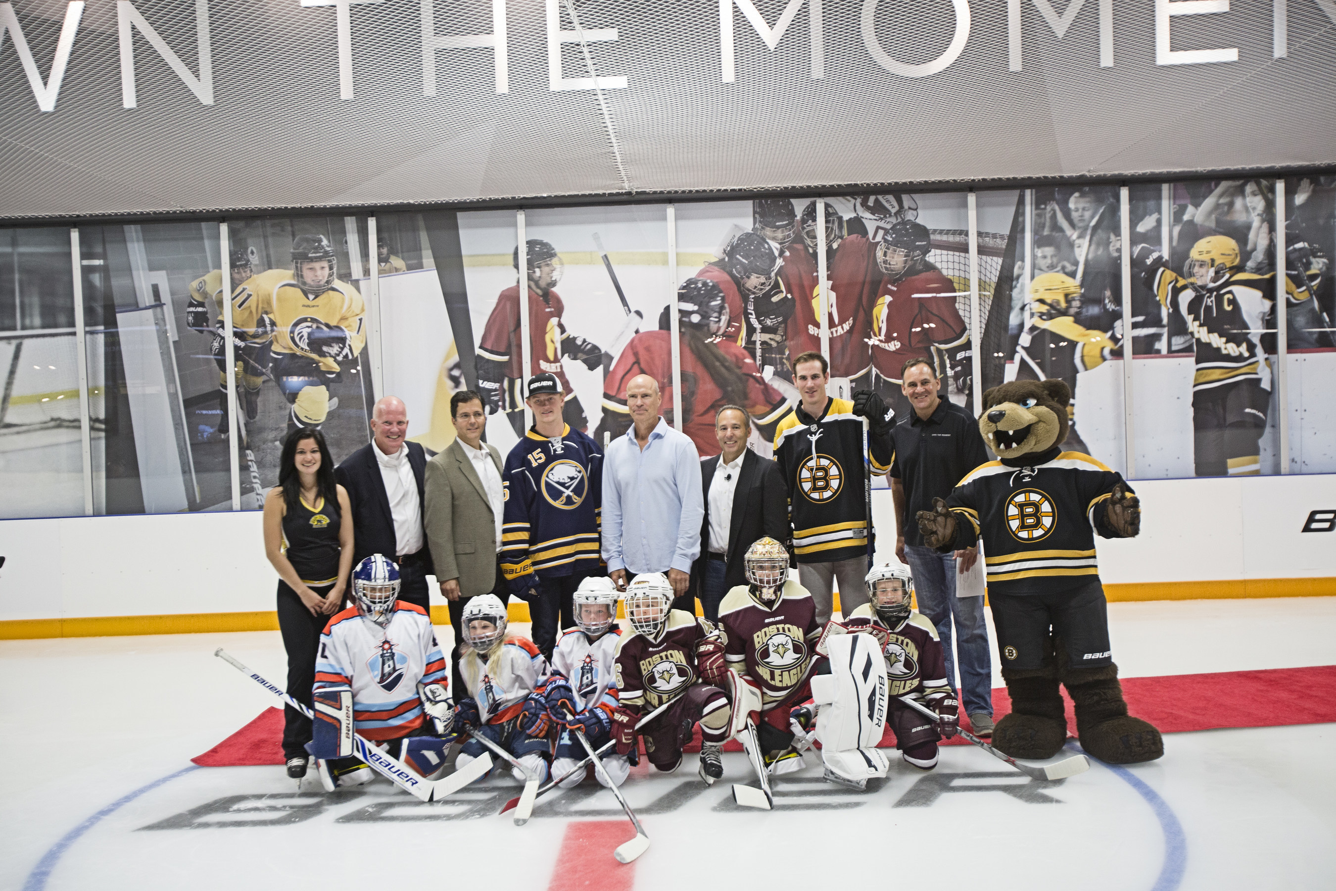 NHL legend Mark Messier was on hand with Bauer Hockey executives, Jack Eichel of the Buffalo Sabres and Jimmy Hayes of the Boston Bruins at the grand opening of the first-ever Bauer Hockey OWN THE MOMENT Hockey Experience, a premium retail store complete with a 2,500 square foot indoor ice rink