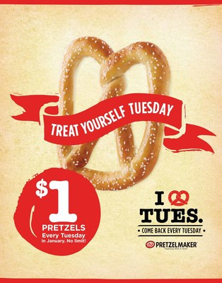 """New Year, new deal! To thank customers, Pretzelmaker(R) is introducing """"Treat Yourself Tuesdays,"""" featuring $1 pretzels and buy one get one coupons for free Pretzel Bites on your next visit"""