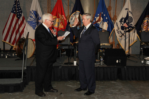 The Hon. Pascal F. Calogero, Jr., the former Chief Justice of the Louisiana Supreme Court, swore in Harry T. Widmann as ABOTA National President at the National World War II Museum in New Orleans, Jan. 15.  (PRNewsFoto/American Board of Trial Advocates)