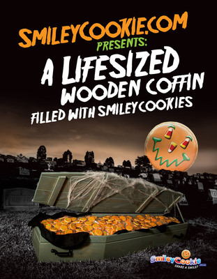 Want the BEST HALLOWEEN DECORATION EVER? Check out @SmileyCookie's life-sized coffin filled w/ 1,313 cookies! www.smileycookie.com.  (PRNewsFoto/SmileyCookie.com)