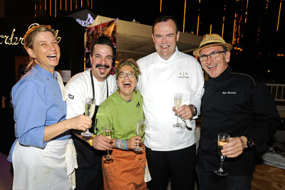Mandalay Bay chefs Mary Sue Milliken, Mike Minor and Susan Feniger of Border Grill, Charlie Palmer of Aureole, and Rick Moonen of rm Seafood during Vegas Uncork'd in 2012. Photo credit: Dave Becker