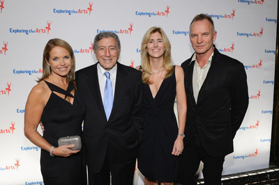 Katie Couric, Tony Bennett, Susan Benedetto and Sting attend the 6th Annual Exploring the Arts Gala hosted by Tony Bennett And Susan Benedetto at Cipriani 42nd Street on October 4, 2012 in New York City.  (PRNewsFoto/Exploring the Arts, Larry Busacca/Getty Images for E)