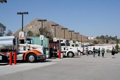 Trucks fuel at Rubidoux, an unattended cardlock site in Riverside County. Ownership of Rubidoux transferred to Flyers Energy with the sale of Poma Companies assets on Monday.