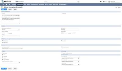 NetSuite SuiteBilling - Billing Operation Schedule