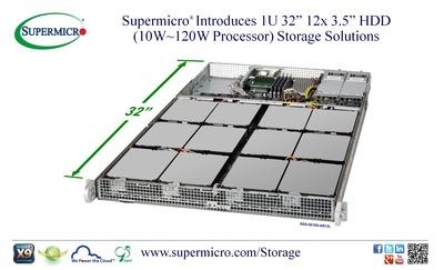 "Supermicro(R) Introduces 1U 32"" 12x 3.5"" HDD (10W~120W CPU) Storage Solutions (PRNewsFoto/Super Micro Computer, Inc.)"