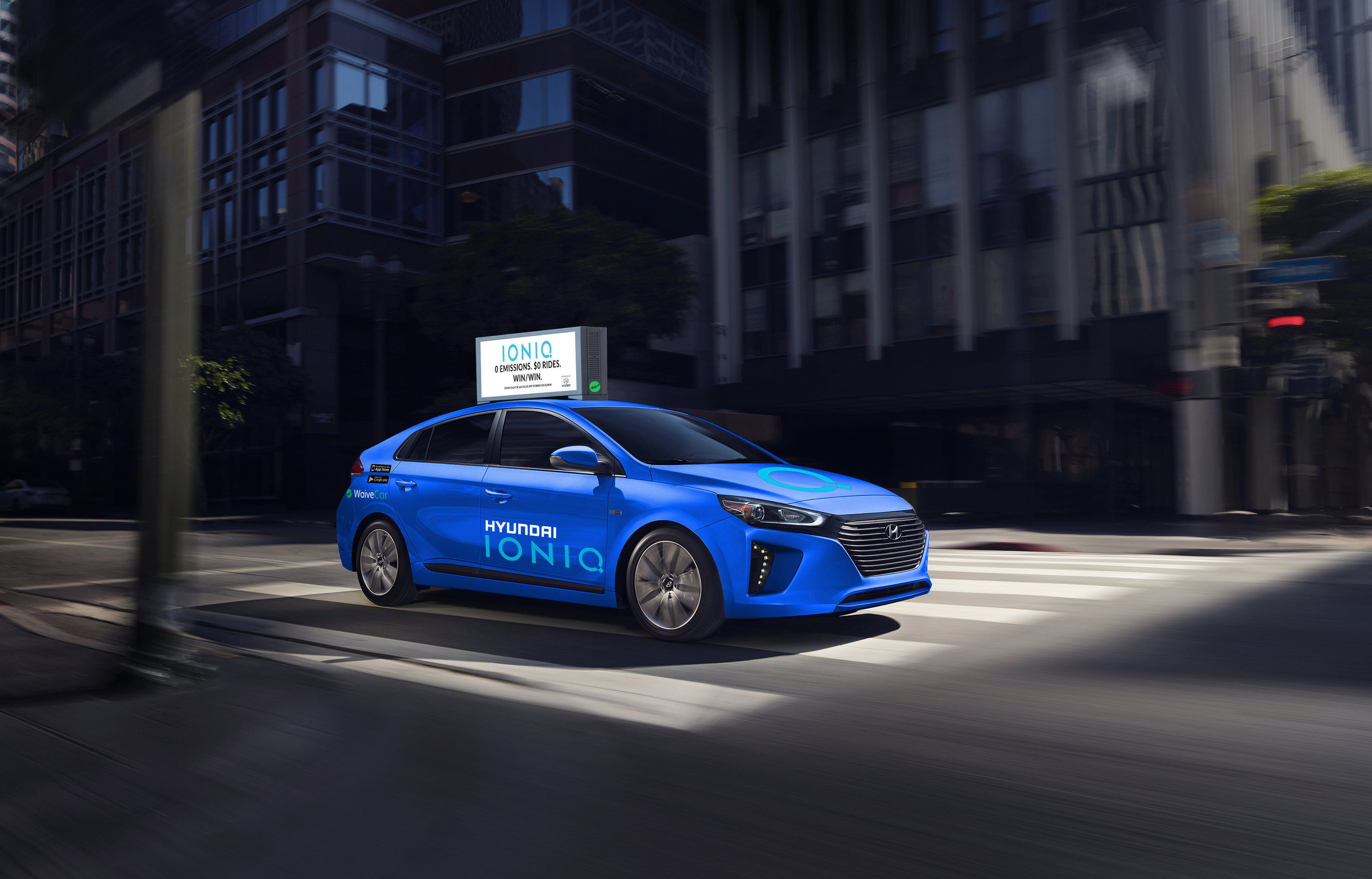 Los Angeles, Nov. 16, 2016 - Hyundai Motor and WaiveCar, the world's first all-electric car-sharing program that runs on advertising dollars, today announced a partnership that will expose millions of shoppers to the all-new Hyundai IONIQ electric compact car for free.