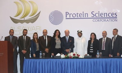 Members of Avanzcare join Daniel Adams, Executive Chairman of Protein Sciences (fifth from right) at a press conference in Doha, Qatar announcing their partnership. Also pictured are Sheikh Turki Bin Faisal al Thani, Chairman of Al Sawari Holding, (fourth from right), Her Excellency Dana Shell Smith, United States Ambassador to Qatar (third from right), John Youssef, General Manager of Avanzcare (second from right) and Mohammed Shafiek, Al Sawari Holding Managing Director (right)