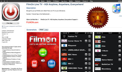 Apple iTunes screencap FilmOn #1.  (PRNewsFoto/FilmOn.com PLC)