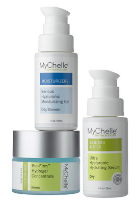 The MyChelle collection of clean, bioactive skin care includes three products that contain powerful humectant Hyaluronic Acid as a key ingredient: NEW Bio-Firm(TM) Hydrogel Concentrate, Ultra Hyaluronic Hydrating Serum, and Serious Hyaluronic Moisturizing Gel. Each formula is specifically formulated for a specific skin type or concern to provide superior, professional results. Bio-Firm(TM) Hydrogel Concentrate is a natural industry-first solid serum formulated with a high active 2% dose of botanically derived Hyaluronic Acid--in addition to moisture-binding peptide Polyglutamate--to provide deep nourishment and restore hydration for natural, healthy skin.