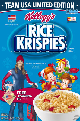 U.S. Olympian Noelle Pikus-Pace, skeleton competitor and member of Team Kellogg's(TM), will be featured on Kellogg's(R) Rice Krispies(R) cereal boxes beginning in December. (PRNewsFoto/Kellogg Company) (PRNewsFoto/KELLOGG COMPANY)