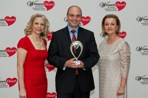WomenHeart Chair Carrie Wosicki, Burlington CMO Bart Sichel, and WomenHeart CEO Lisa M. Tate ...