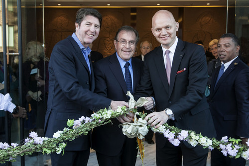Bruce Bradley, Horst Schulze, and Alex Obertop at the ribbon cutting ceremony for the opening of Capella Washington D.C., Georgetown (Photographed Left to Right).  (PRNewsFoto/Capella Hotels and Resorts, Tony Brown/imijphoto.com)