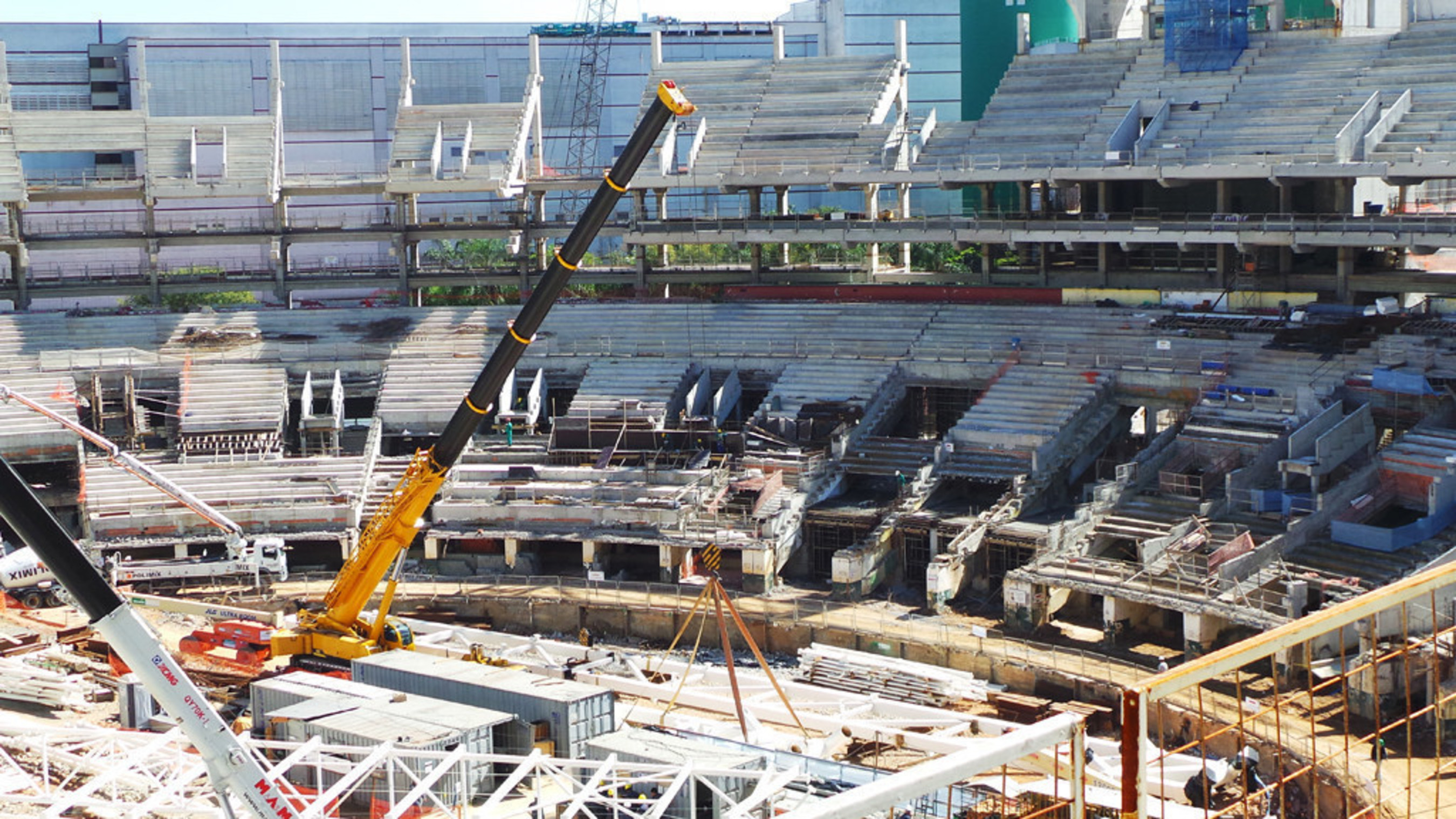 XCMG cranes working at Arena Fonte Nova, a World Cup venue in Salvador