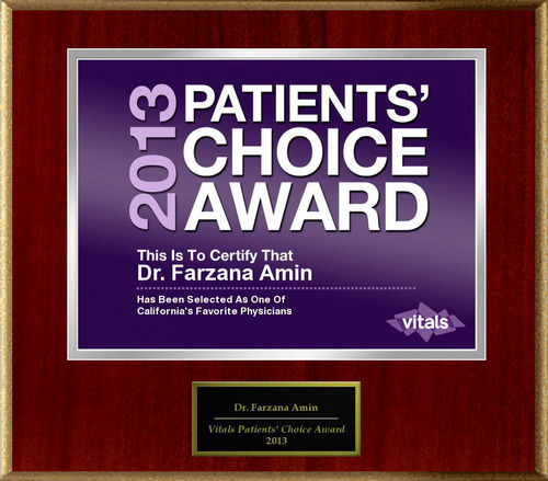 Dr. Farzana Amin of San Mateo, CA Named a Patients' Choice Award Winner for 2013.  (PRNewsFoto/American ...