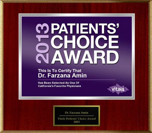 Dr. Farzana Amin of San Mateo, CA Named a Patients' Choice Award Winner for 2013. (PRNewsFoto/American ...