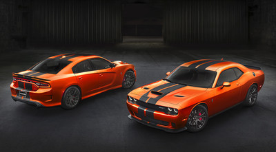Dodge expands its color palette with a new, modernized version of Go Mango exterior paint on 2016 Dodge Challenger and Charger SRT models.