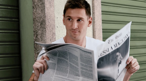 """Pepsi premiered its new global commercial and interactive film, """"NOW IS WHAT YOU MAKE IT,"""" as part of the 2014 Pepsi Football campaign. The creative features the #FutbolNow Pepsi superstar squad, including Leo Messi, pictured here in the creative. (PRNewsFoto/PepsiCo) (PRNewsFoto/PEPSICO)"""
