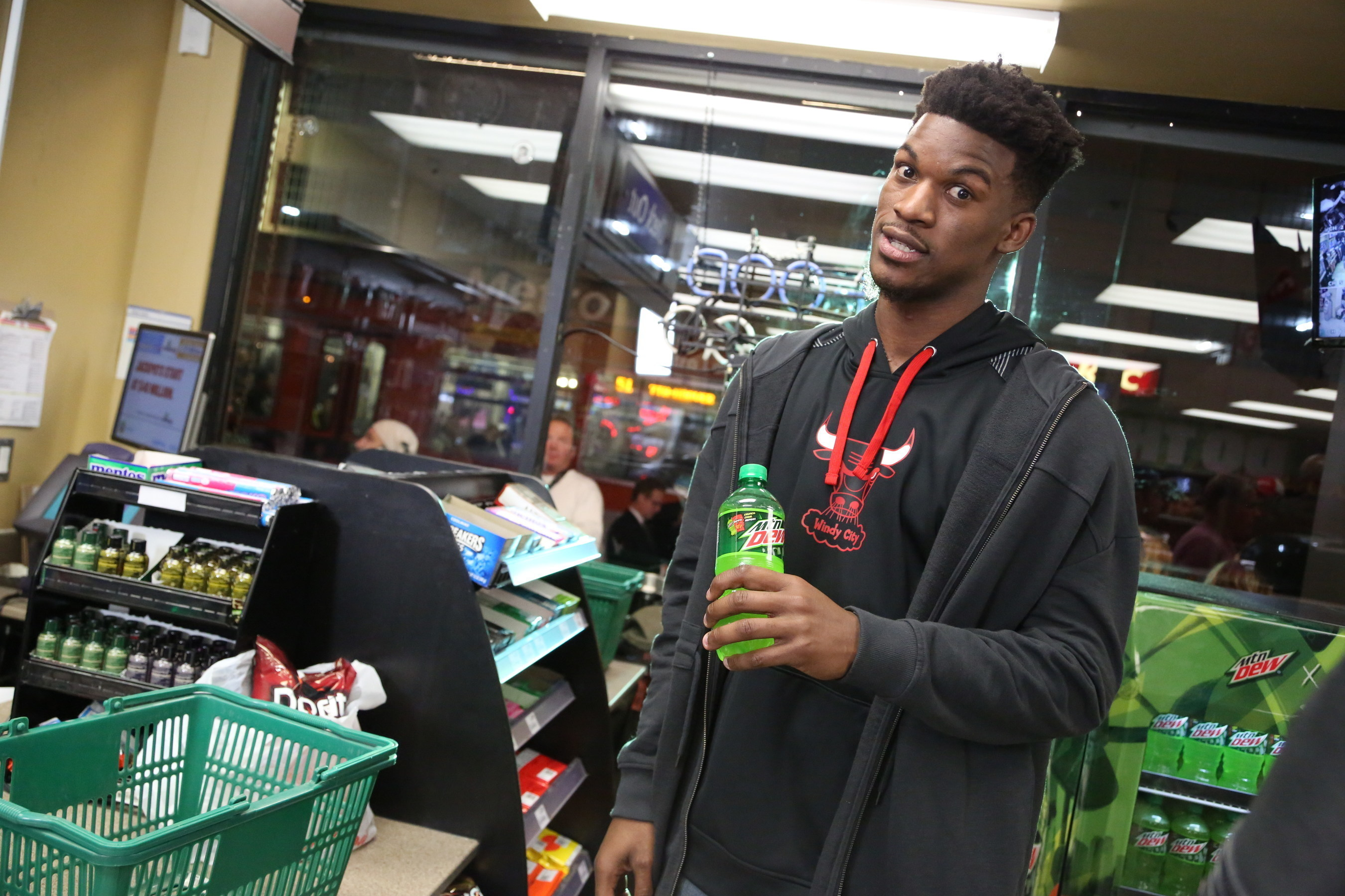 "NBA star Jimmy Butler enjoys a Mountain Dew during the filming of ""Make An Introduction"", a television spot airing in the U.S. and Canada during NBA All-Star 2016 featuring DEW(R)athletes and 2016 NBA All-Stars Russell Westbrook and Jimmy Butler, and rising star Julius Randle. The shoot was held in Los Angeles on Jan. 27, 2016. (Casey Rodgers/AP Images for Mountain Dew)"