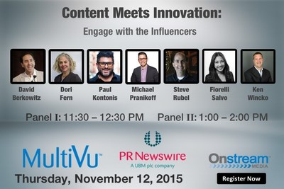 Join PR Newswire for Content Meets Innovation: Engage with the Influencers, available via live video stream on Nov. 12.