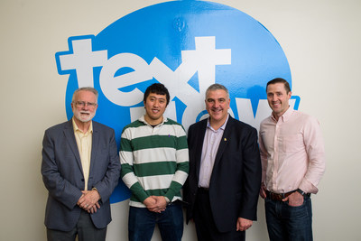 Canadian Mayoral Delegation visiting the new TextNow office in San Francisco. Mayor Doug Craig of Cambridge, TextNow CEO & co-founder Derek Ting, Mayor Dave Jaworsky of Waterloo, and TextNow VP of Growth & GM Mark Braatz.