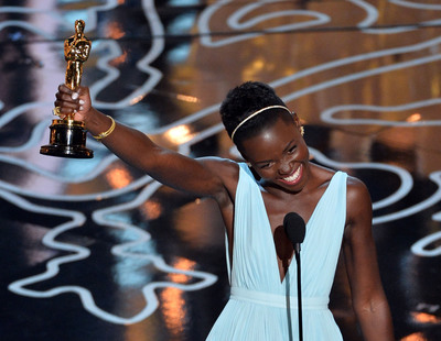 Lupita Nyong'o celebrates her Oscar win in Fred Leighton gold jewelry