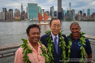 Palau President Tommy E. Remengesau Jr., UN Secretary General Ban Ki-moon, and Hokulea's pwo (master) navigator Nainoa Thompson in front of the United Nations celebrating World Oceans Day