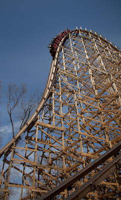 Outlaw Run takes riders down the world's steepest drop on a wood coaster - 16 stories at 81 degrees, nearly vertical.