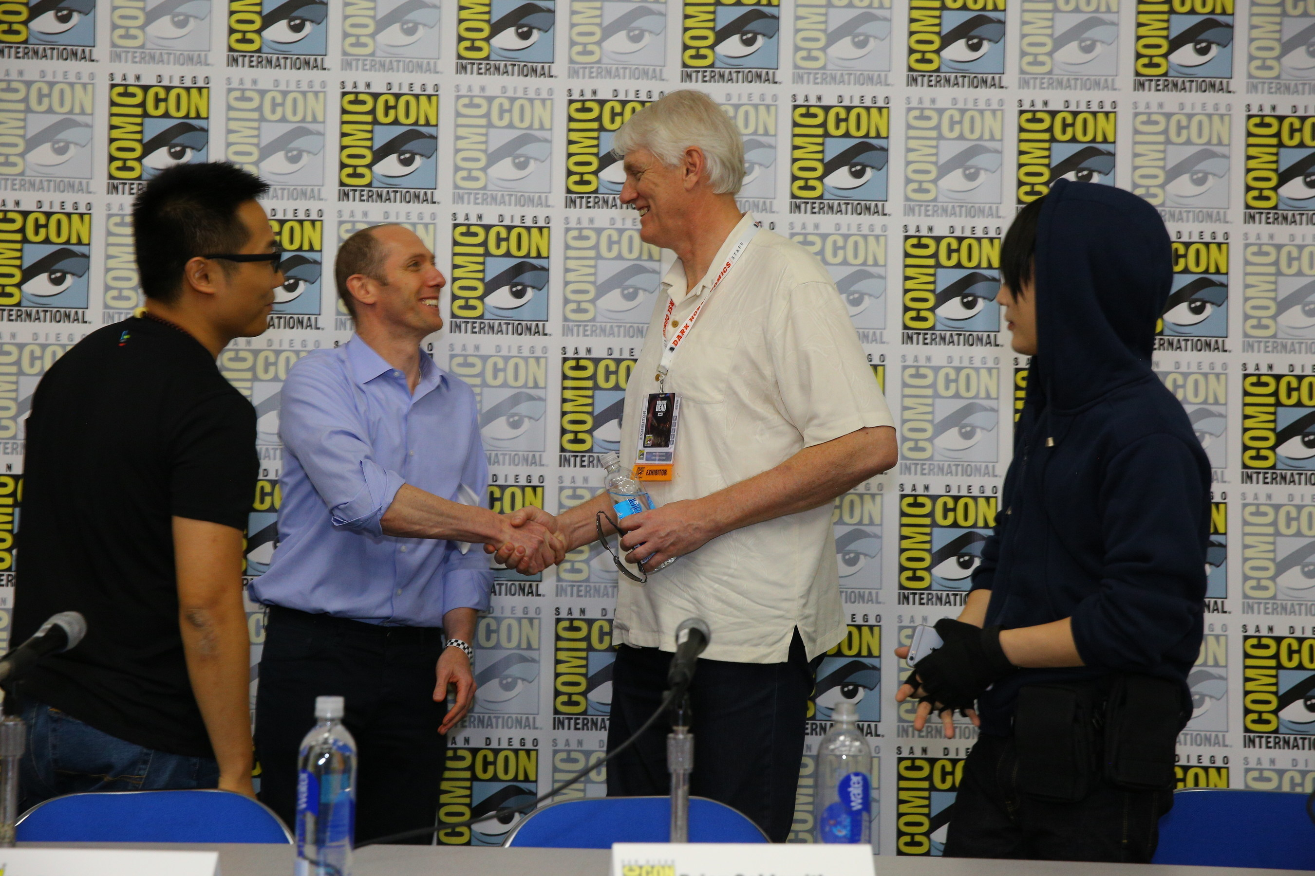 """(L-R) Liu Peiyao, VP LeVP; Brian Goldsmith, COO, Lionsgate; Mike Richardson, Founder, Dark Horse Comics; Huang Shan, #1 Chinese Cosplayer following """"The Super Fan Phenomenon in China"""" panel at SDCC"""