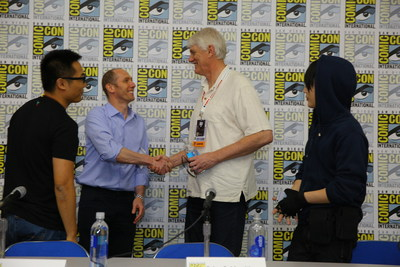 "(L-R) Liu Peiyao, VP LeVP; Brian Goldsmith, COO, Lionsgate; Mike Richardson, Founder, Dark Horse Comics; Huang Shan, #1 Chinese Cosplayer following ""The Super Fan Phenomenon in China"" panel at SDCC"