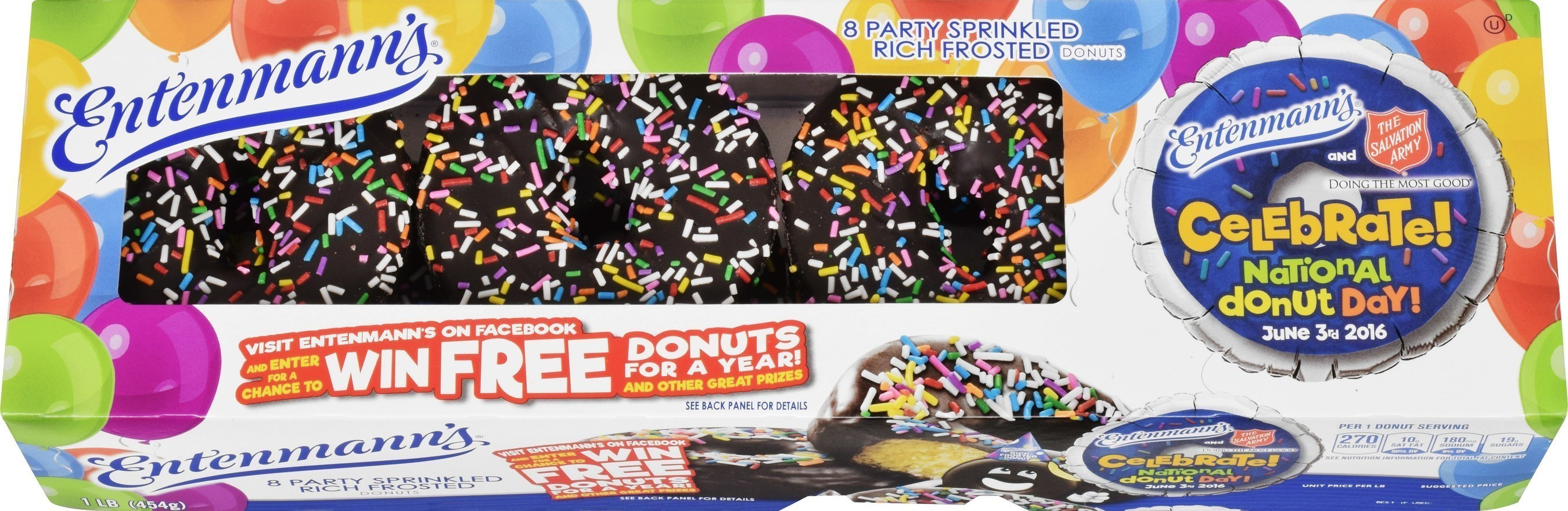 """Entenmann's(R) And The Salvation Army Are Having A Big Party To Celebrate 2016 """"National Donut Day"""" June 3rd With New Rich Frosted Party Sprinkled Donuts"""