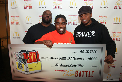 2014 McDonald's Flavor Battle champion, DJ R-Tistic of Los Angeles, celebrates his win with show host, DJ Funkmaster Flex, and social media correspondent, TV/radio personality, Sway Calloway. McDonald's Flavor Battle is a national online DJ competition that showcases some of America's hottest up-and-coming mix-masters. The competition began with 12 DJs with DJ R-Tistic edging out DJ Niena Drake of Chicago and DJ Erika B of Newport News, VA, before a panel of celebrity judges and online viewers. Watch the rebroadcast of the finale until March 30 on FlavorBattle.com. Photo credit: Soul Brother. (PRNewsFoto/McDonald's) (PRNewsFoto/MCDONALD'S)