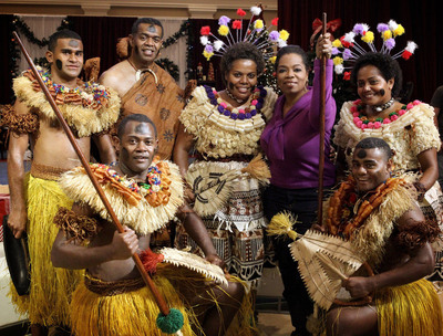 Oprah Winfrey with a group of Fijian entertainers from The Conservatorium of Music in Fiji Photo courtesy of Harpo Studios, Inc.