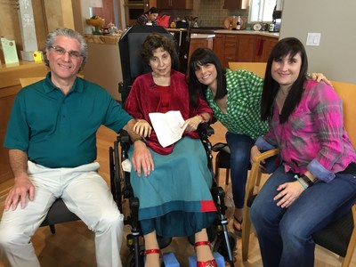 Lance Goldberg, Terry Goldberg, and daughters, Lauren Cain and Leigh Suskin shortly before Terry's death in Feb. 2015