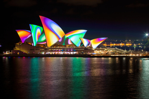 The Sydney Opera House lights up during the annual Vivid Sydney festival celebrating lights, music, and ideas in May.  (PRNewsFoto/Destination NSW)