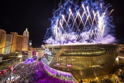 """After The Killers' energetic finale of """"Viva Las Vegas"""" with Imagine Dragons, Wayne Newton, Blue Man Group, Cirque du Soleil, comedian Carrot Top, magician Jeff Civillico and others, magenta fireworks lit up the sky above T-Mobile Arena. Photo credit: Tony Tran Photography"""