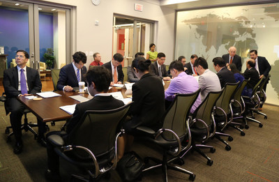 Members of the delegation listen to presentations by U.S. companies at the Free Trade Alliance San Antonio international Facilities