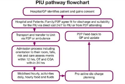 This flow chart is a typical example of the way in which a patient enters the Patients2People (P2P)  Promoting Independence Unit (PIU) and moves through the system until they return to their home environment.  Part of the post PIU plan is a tailored range of care in the patients own home until they have reached their full potentialThis flow chart is a typical example of the way in which a patient enters the Patients2People (P2P)  Promoting Independence Unit (PIU) and moves through the system until they return to their home environment.  Part of the post PIU plan is a tailored range of care in the patients own home until they have reached their full potential (PRNewsFoto/Patients2People)