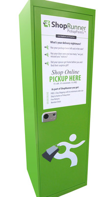The new ShopRunner PickupPoints cabinets provide a convenient, secure way for consumers to receive packages at convenient retail locations while enabling retailers to drive additional online and in-store sales.  (PRNewsFoto/ShopRunner)