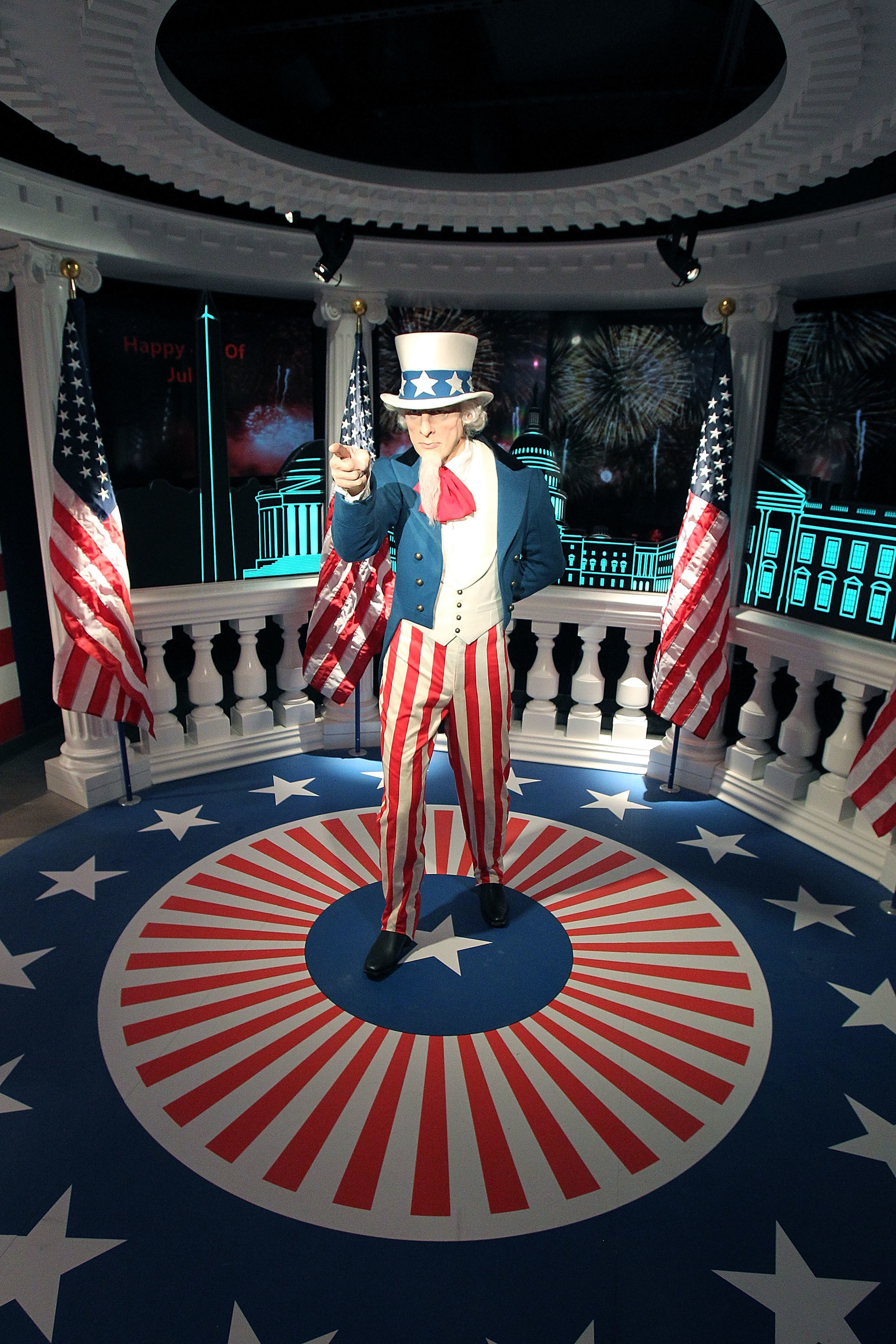 Madame Tussauds Washington, DC unveils brand new Fourth of July Experience featuring the wax figure of iconic Uncle Sam. (Photo Credit: Paul Morigi/Getty Images for Madame Tussauds Washington, DC)