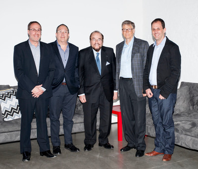 Corbis Entertainment EVP Mark Owens, Producer/PGA President Mark Gordon, Inside the Actor's Studio Founder/Host, James Lipton, Bill Gates and CEO Corbis, Gary Shenk at the launch of Corbis' Branded  Entertainment Network (BEN) in New York City, on May 5