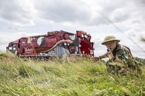 Environmentalist Bill Oddie Spots a 'Wasteater' monster truck in the wild (PRNewsFoto/Biffa)