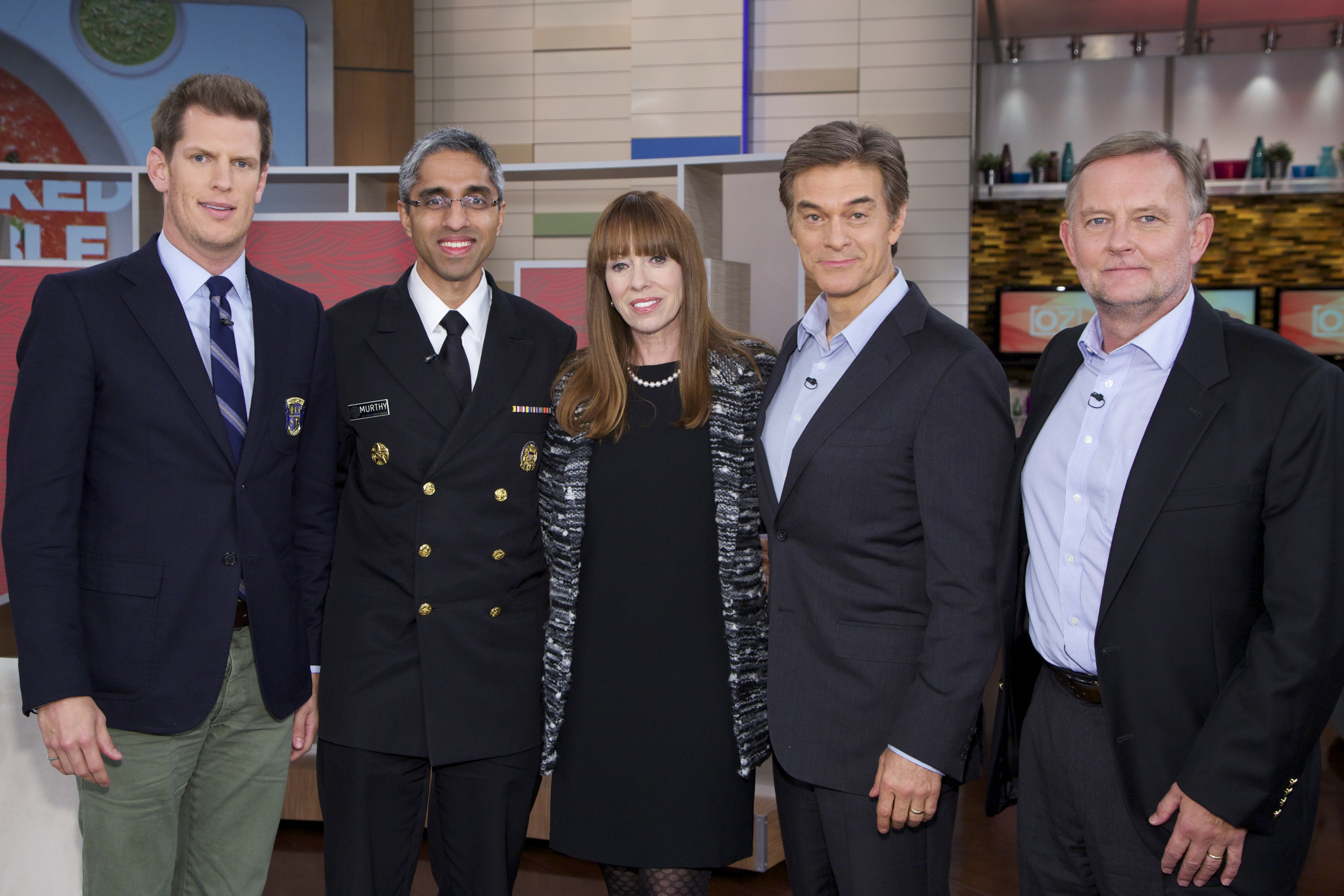 The left to right in the photo is: Jamison Monroe (Drugs Over Dinner), U.S. Surgeon General Vivek Murthy M.D., Mackenzie Phillips, Actress, Dr. Oz, Host, and Jim Hood (Facing Addiction)