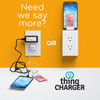 thingCHARGER is a patented mobile device charger that plugs - and aesthetically blends - into U.S. outlets, with interchangeable tips to charge ANY mobile device, eliminating unsightly wires. Help bring thingCHARGER to market by contributing to the next major phase of its financing on Indiegogo. (PRNewsFoto/thingCHARGER, Inc.)