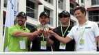 From left, Pat O'Keefe, Michael von Disterlo and Luke Lonberger of CLP Motorsports join X Games Gold Medal Winner Tanner Foust in toasting the successful conclusion of the 2,507-mile cross-country drive on one tank of Neste NEXBTL renewable diesel in Santa Monica, CA.