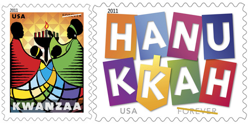 Spread the Joy...Forever: The 2011 Hanukkah and Kwanzaa Holiday Stamps on Sale Nationwide Today