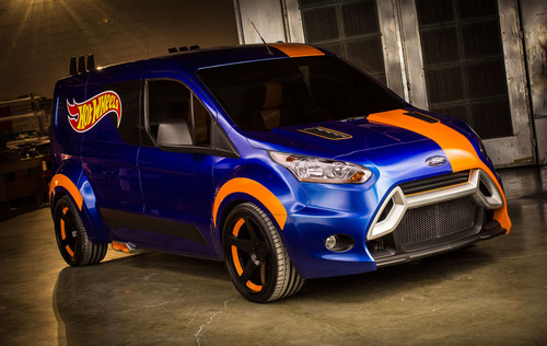 The Hot Wheels concept of the Transit Connect cargo van, unveiled today at the 2013 Specialty Equipment Market Association (SEMA) show in Las Vegas, has been transformed from a versatile people mover to a race-ready hauling machine that any kid - big or small - would want.  (PRNewsFoto/Ford Motor Company)