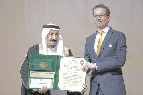 King Salman gives Joris Veltman this year's King Faisal International Prize in medicine for the clinical ...