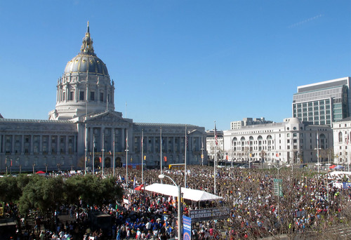 Tens of thousands rally at San Francisco City Hall for largest ever Walk for Life West Coast on 10th Anniversary. (PRNewsFoto/Walk for Life West Coast) (PRNewsFoto/WALK FOR LIFE WEST COAST)