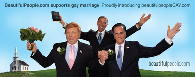 """I now pronounce you man and Trump"" - Actors portraying a matrimonial union between Mitt Romney and Donald Trump as part of BeautifulPeople's banned billboard campaign.  (PRNewsFoto/BeautifulPeople.com)"