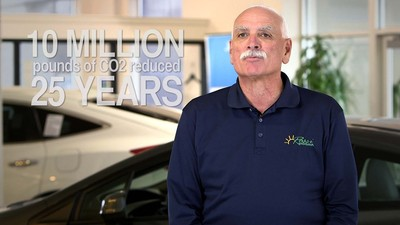 """Ron Rossi of Rossi Honda (Vineland, NJ), discusses his efforts to become the nation's first Electric Grid Neutral dealer. """"Electric Grid Neutral"""" means that the dealer produces as much as or more energy from renewable energy sources than it consumes from its local electric utility over a one-year period. Of the approximately 17,500 automobile dealers in the United States, Rossi Honda is the only dealer to achieve Electric Grid Neutral status. (PRNewsFoto/Honda North America, Inc.) (PRNewsFoto/HONDA NORTH AMERICA, INC.)"""